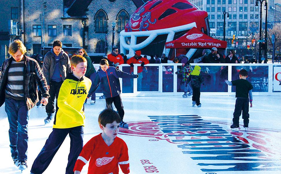 Synthetische ijsbaan voor de Detroit Red Wings