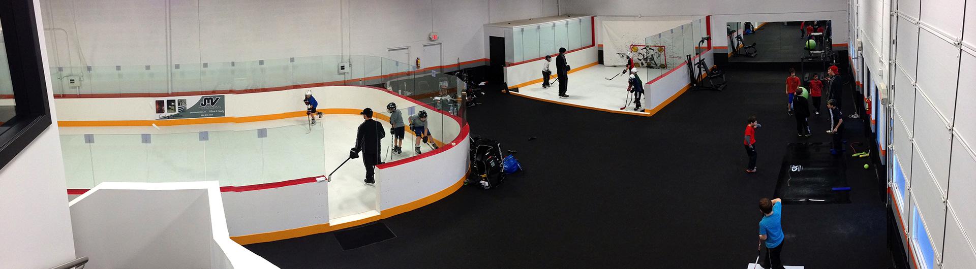 Ijshockeyveld op synthetisch ijs Xtraice