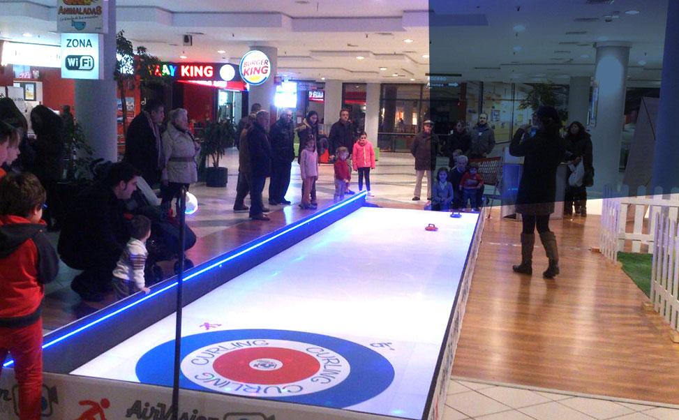 Curling spelen op synthetisch ijs