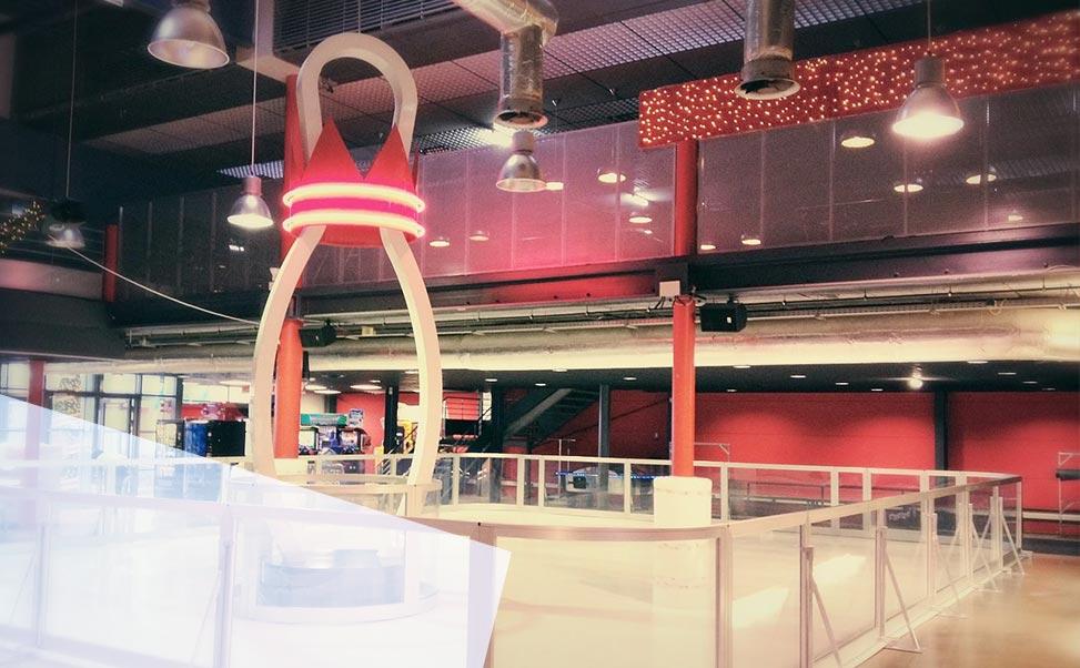 Een ijsbaan in een bowlingcentrum