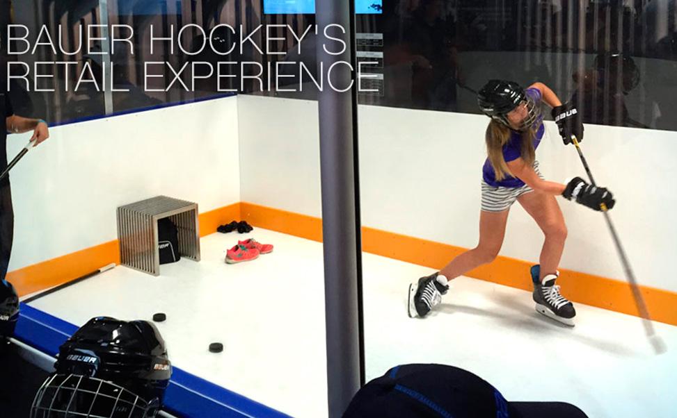 米国バウアーショップ内に置かれたエクストラアイスの合成スケートリンク