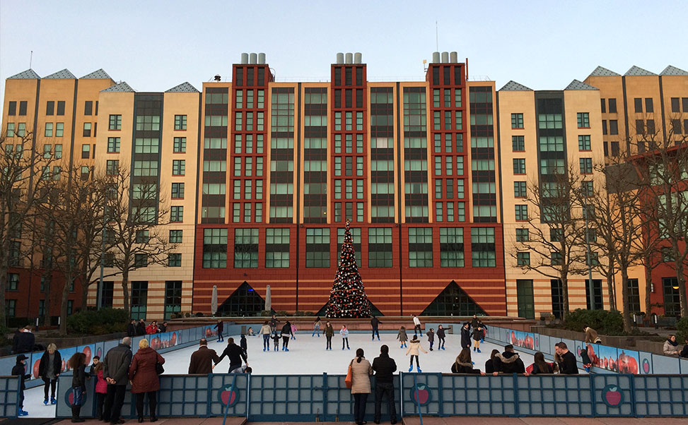 Synthetic ice rink Xtraice installed in Disneyland Paris Theme Park.(France)