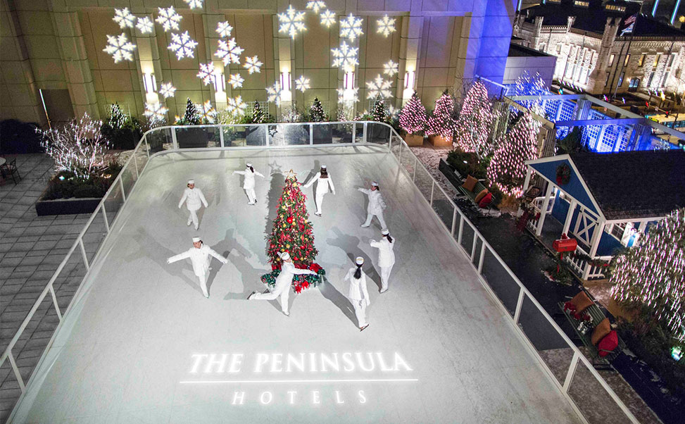 Synthethic ice rink at the Peninsula Hotel Chicago