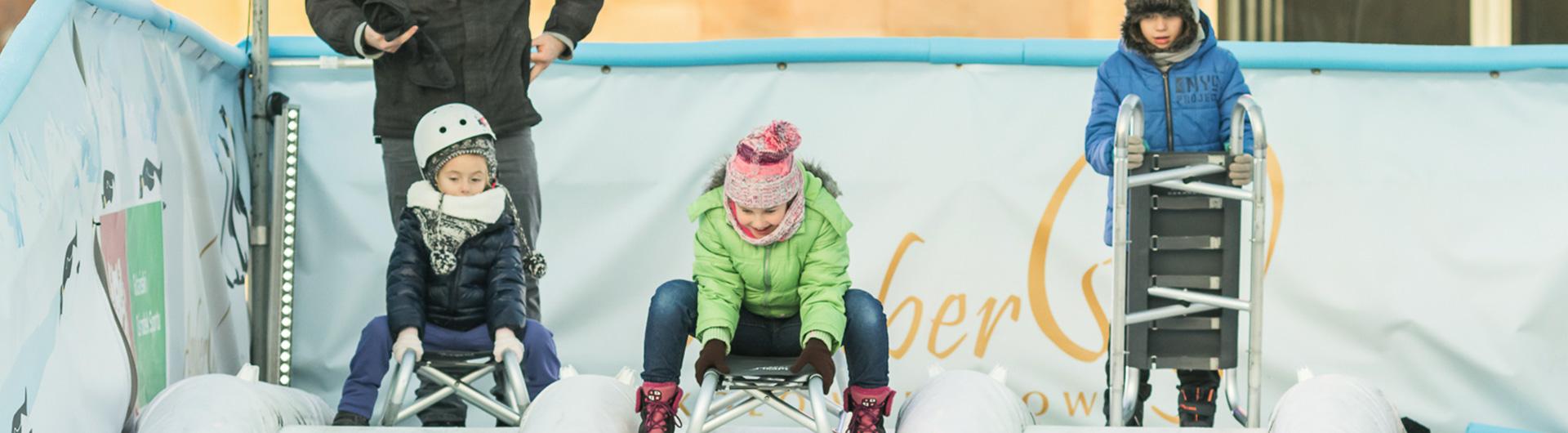 合成アイスの滑り台はレンタルで提供しています。