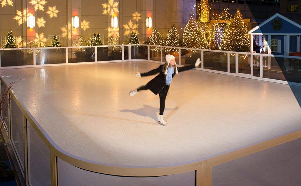 Pista de patinagem sobre gelo sintético para hotéis