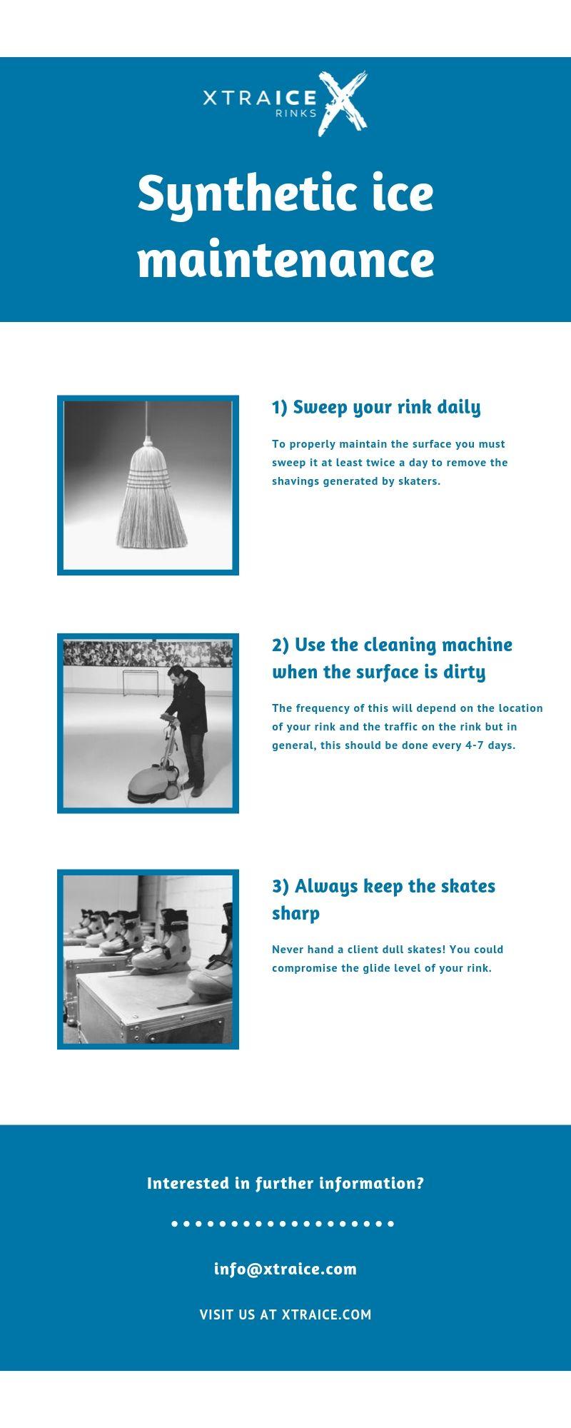 Synthetic ice maintenance